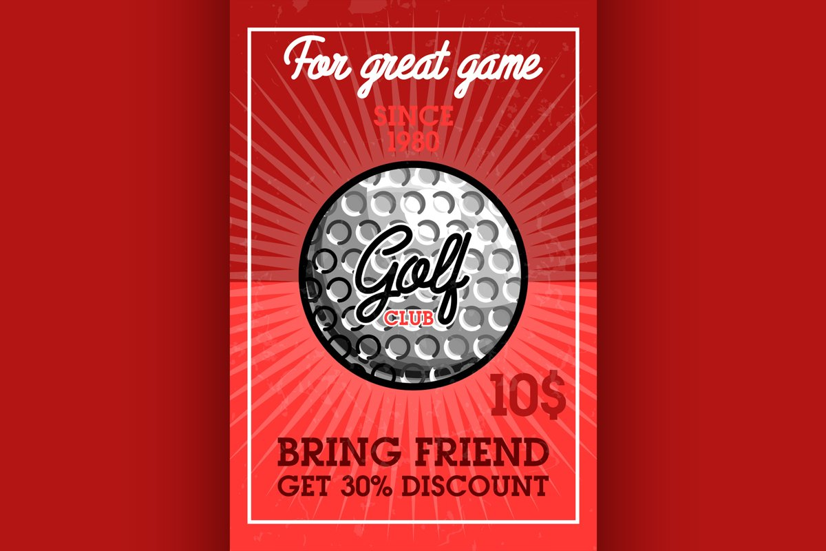 Color vintage golf club banner example image 1