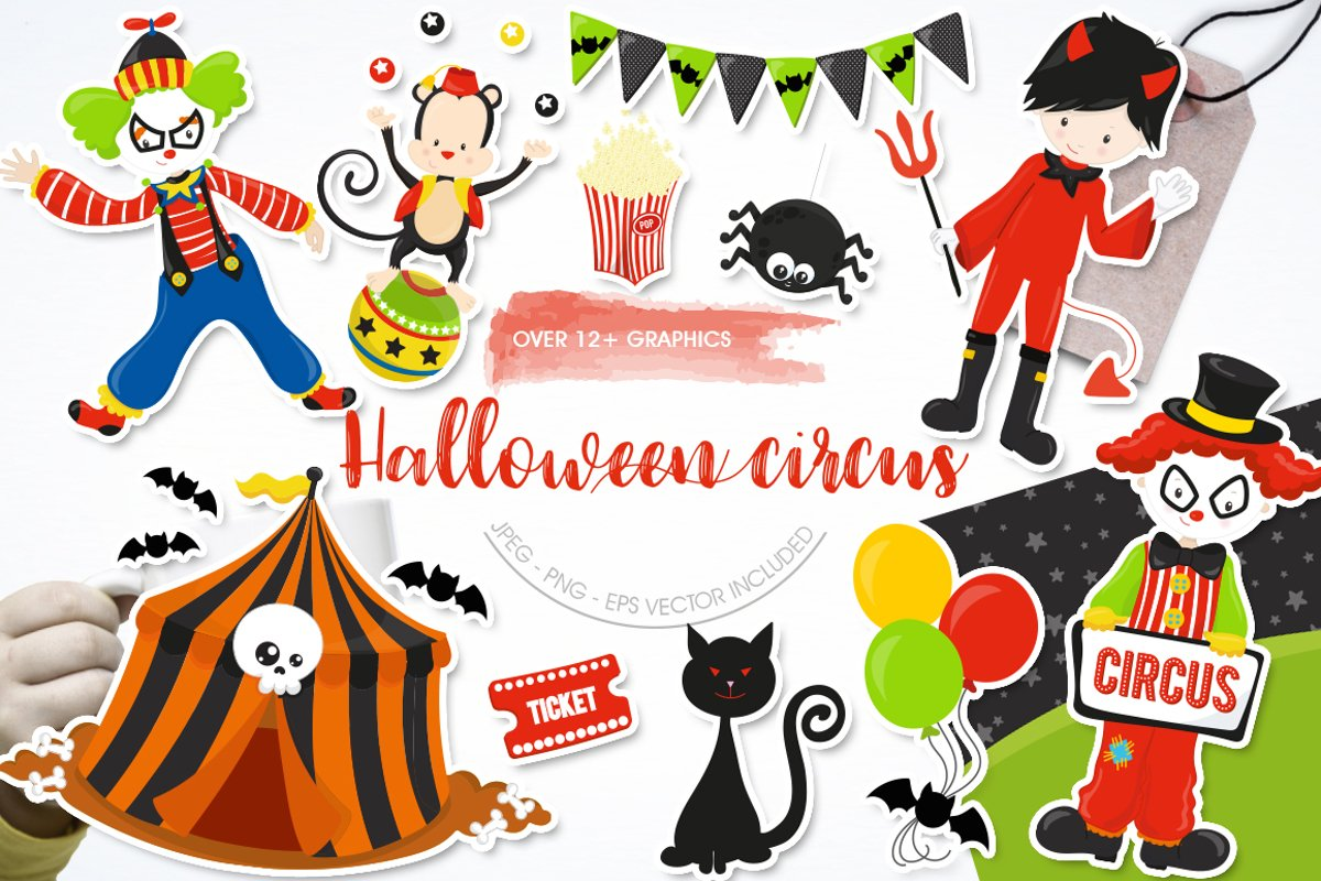 Halloween Circus Graphics and illustrations, vector example image 1