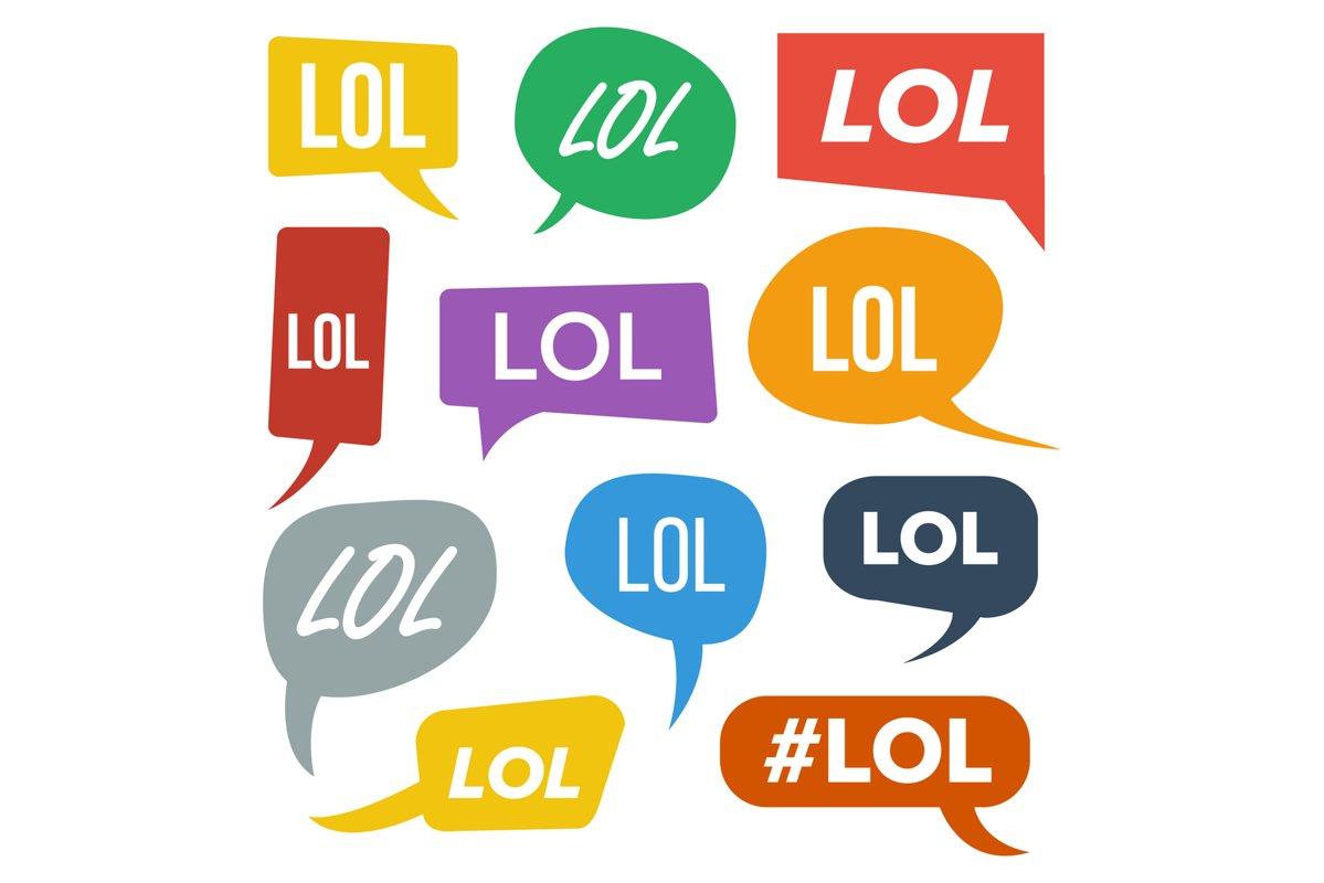 Lol Speech Bubbles Vector. Fun Symbol. Emotion. Facial example image 1