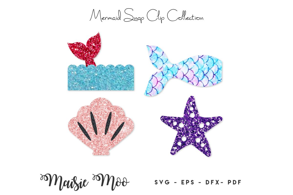 Mermaid Snap Clip SVG, Snapclip Template, Bow SVG, Bow Cente example image 1