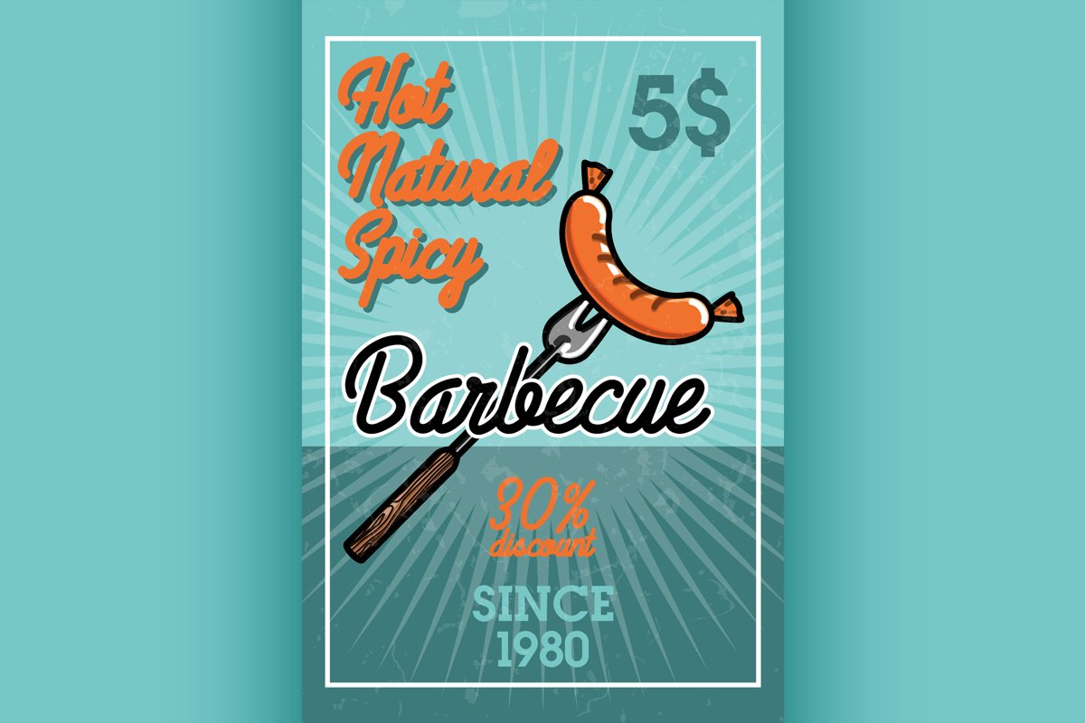 Color vintage barbecue banner example image 1