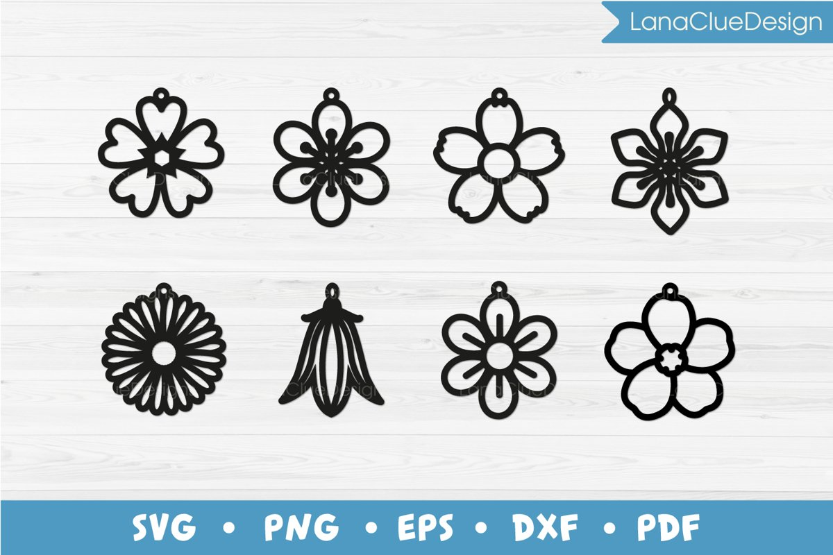 8 Wildflower Earrings SVG example image 1