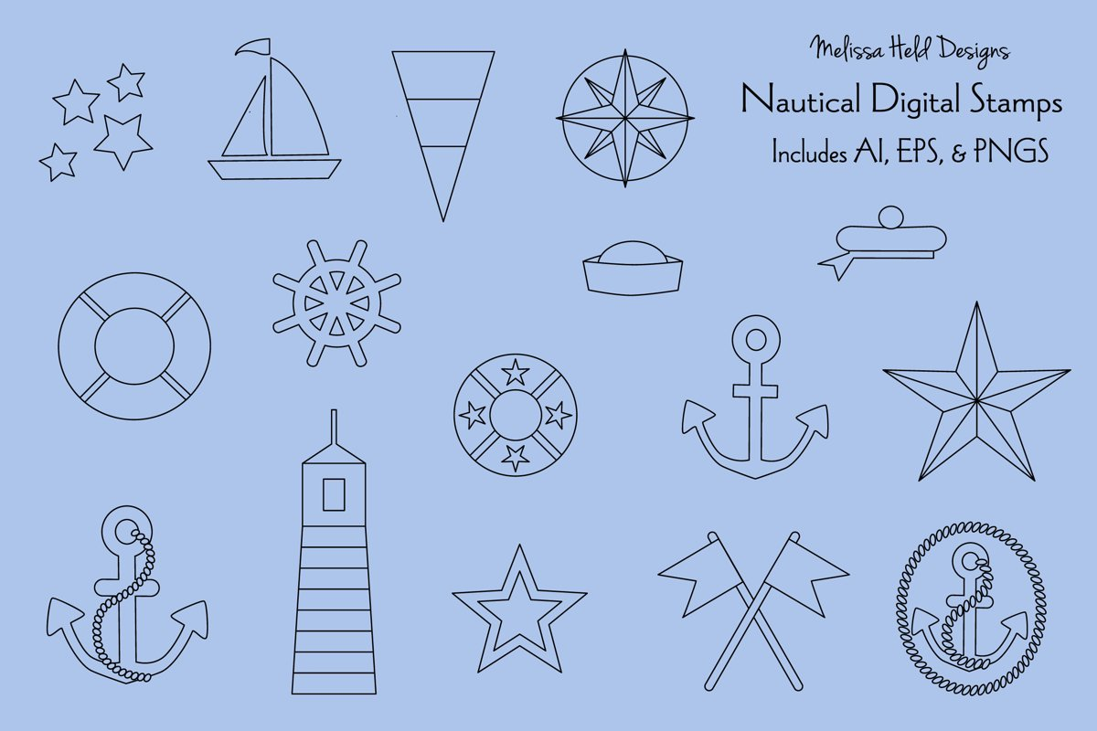 Nautical Digital Stamps Clipart example image 1