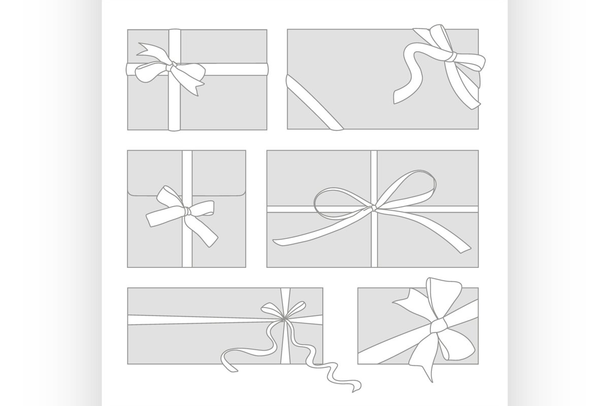 Gift cards with bows vector set example image 1