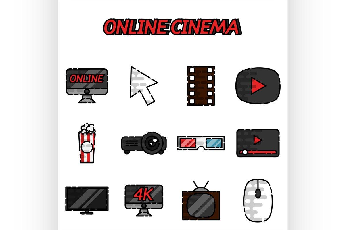 Online cinema flat icons set example image 1
