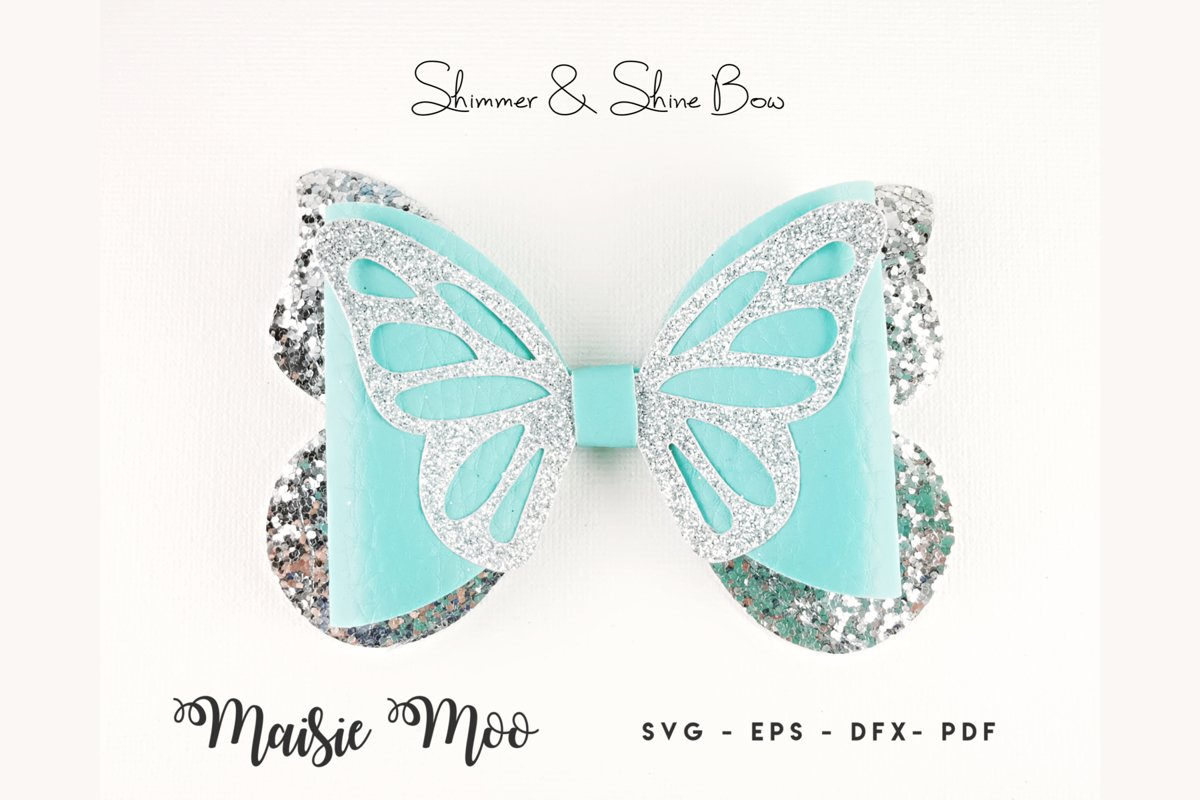 Butterfly Bow Template SVG, Bow SVG,Faux Leather Bow example image 1