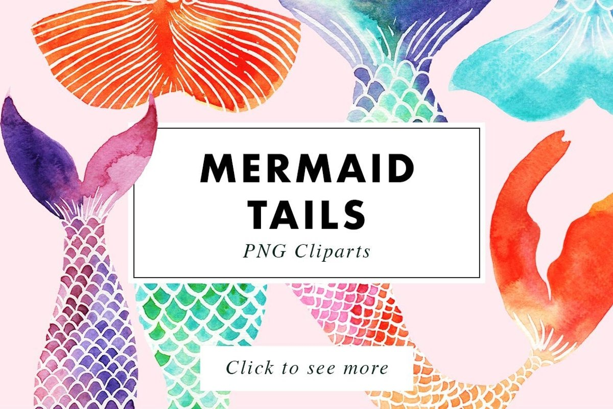 Mermaid Tails | Watercolor Illustrations Clipart example image 1