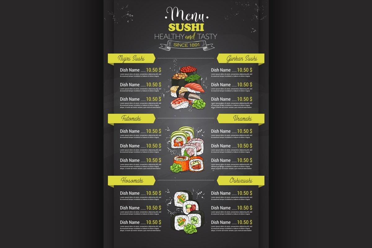 Restaurant vertical color sushi menu example image 1