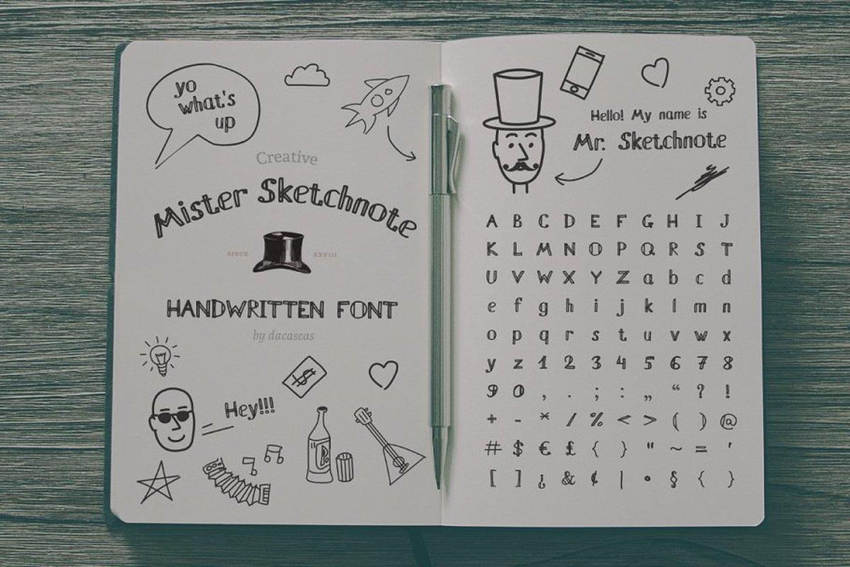 Mister Sketchnote Handwritten Font example image 1
