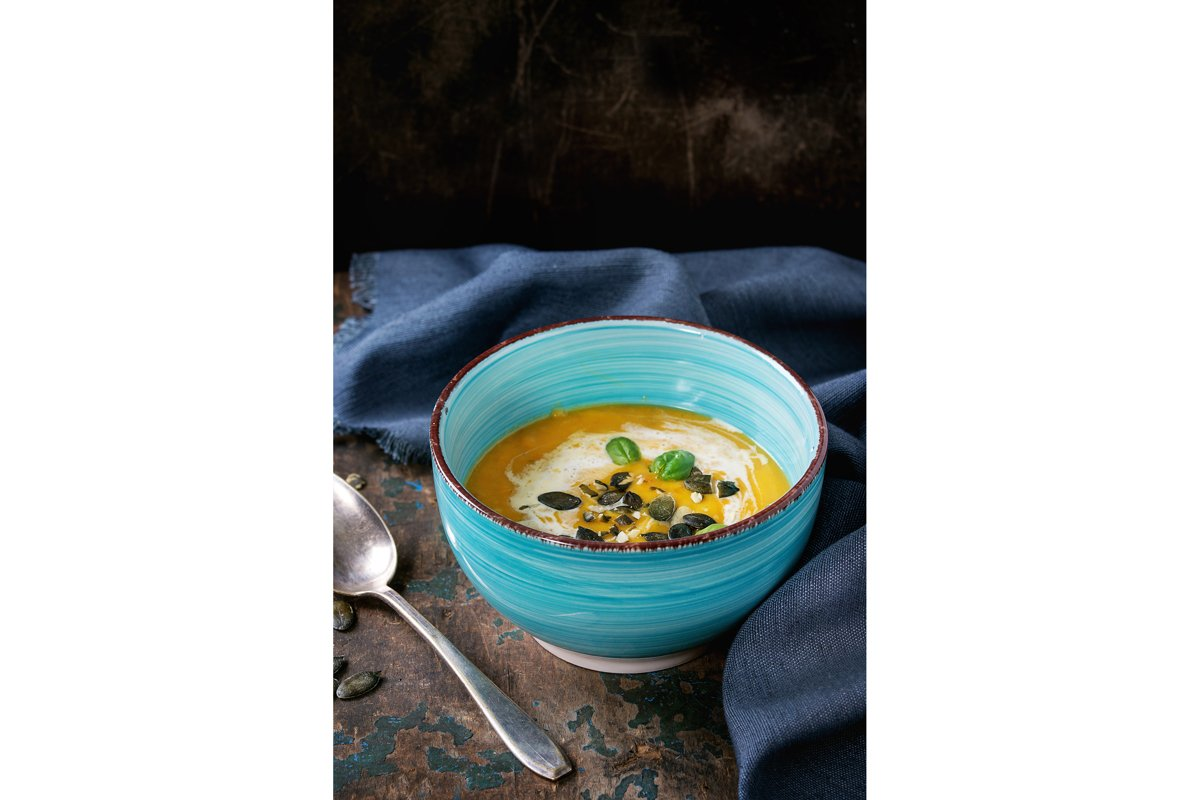 Pumpkin and sweet potato soup example image 1