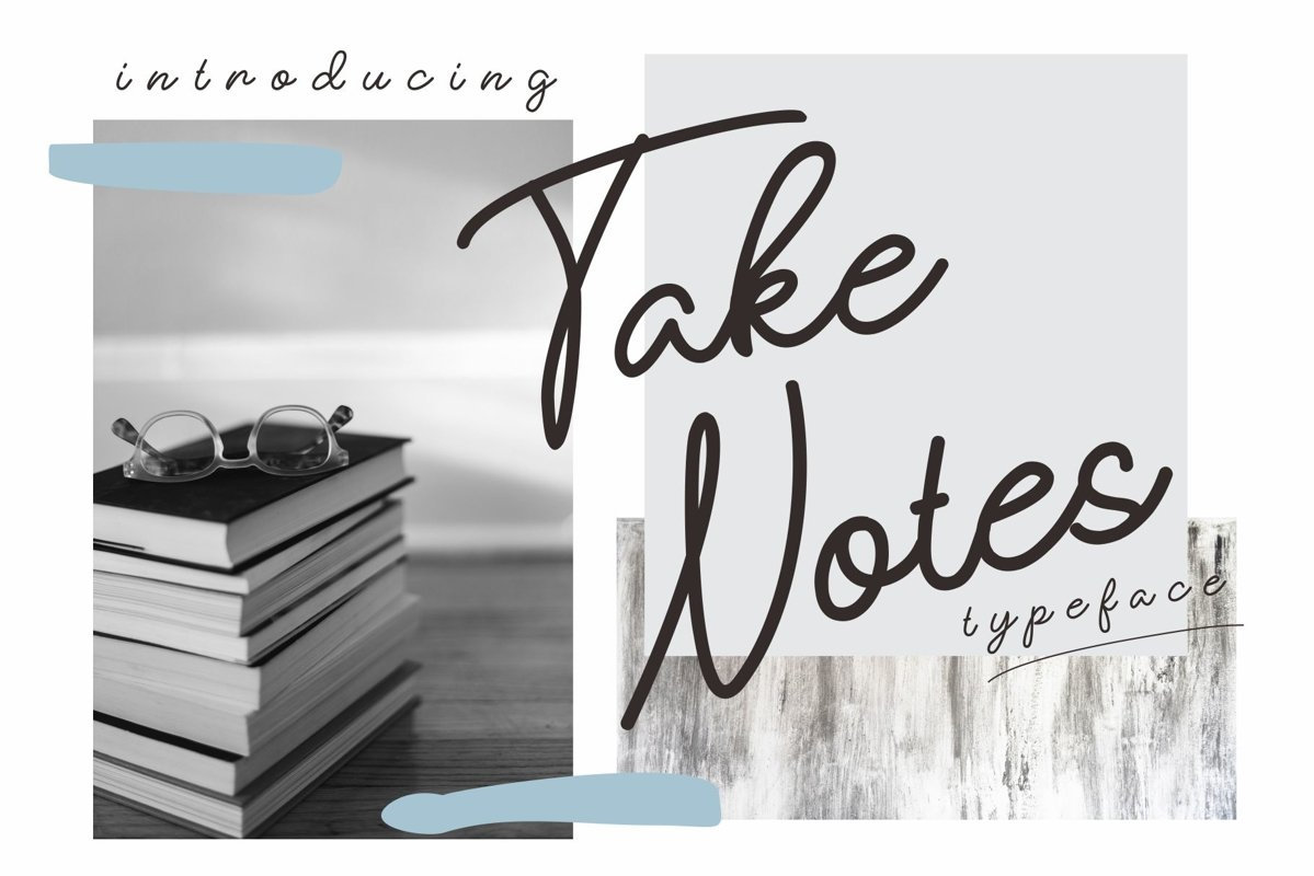 take notes typeface example image 1