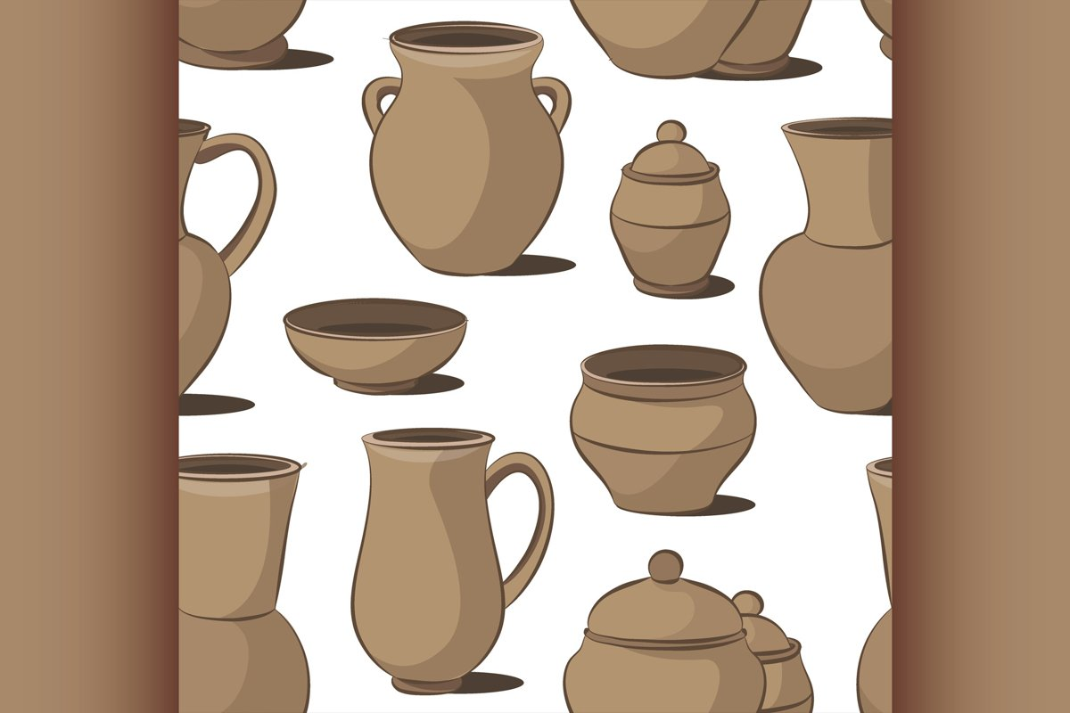 Rustic ceramic utensils pattern example image 1