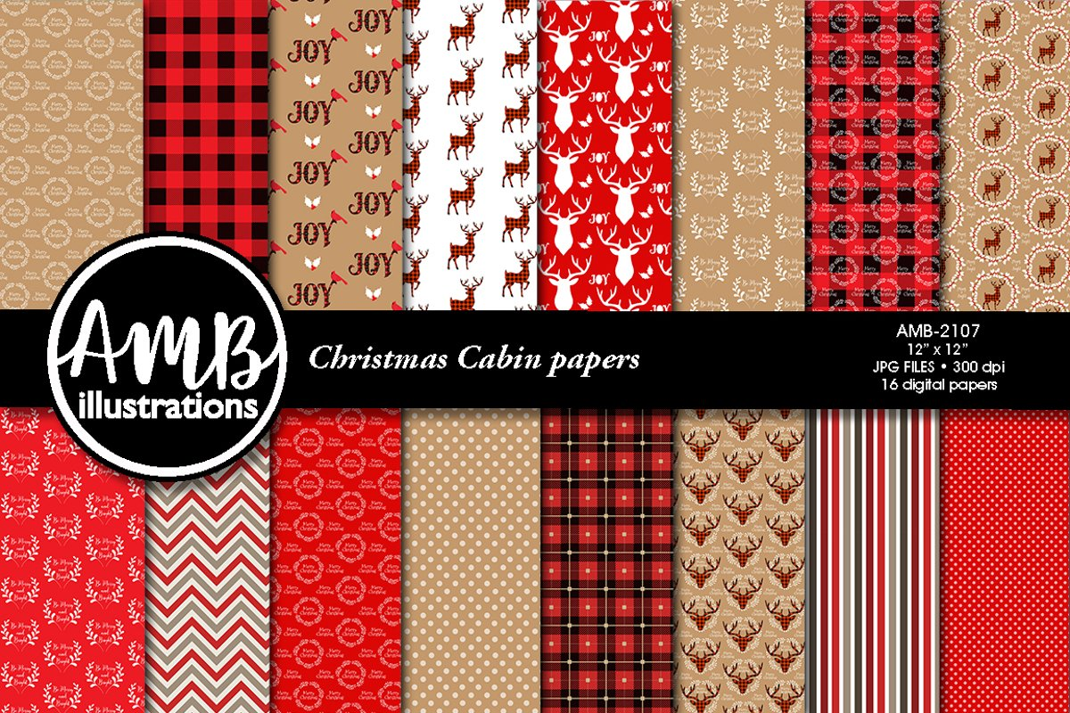 Christmas Cabin Papers, Rustic Cabin Patterns AMB-2107 example image 1