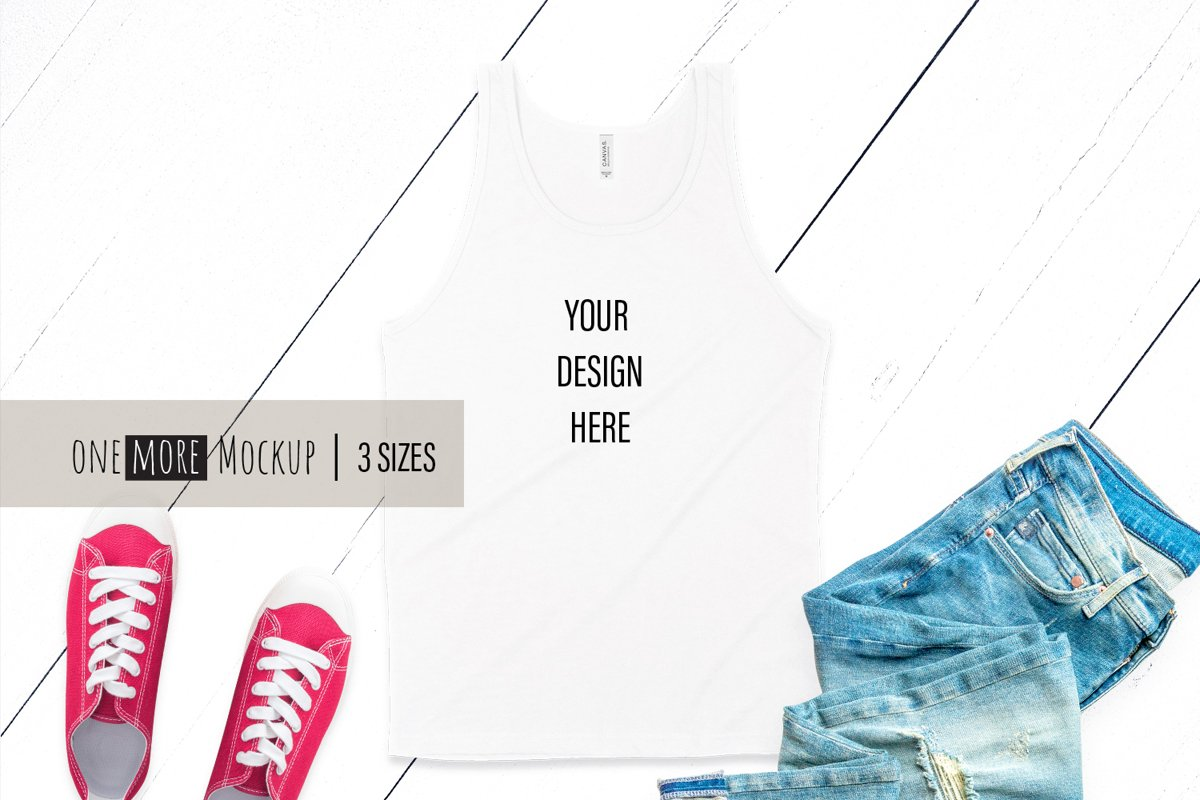Men Tank Top Mockup | Bella Canvas 3480 White example image 1