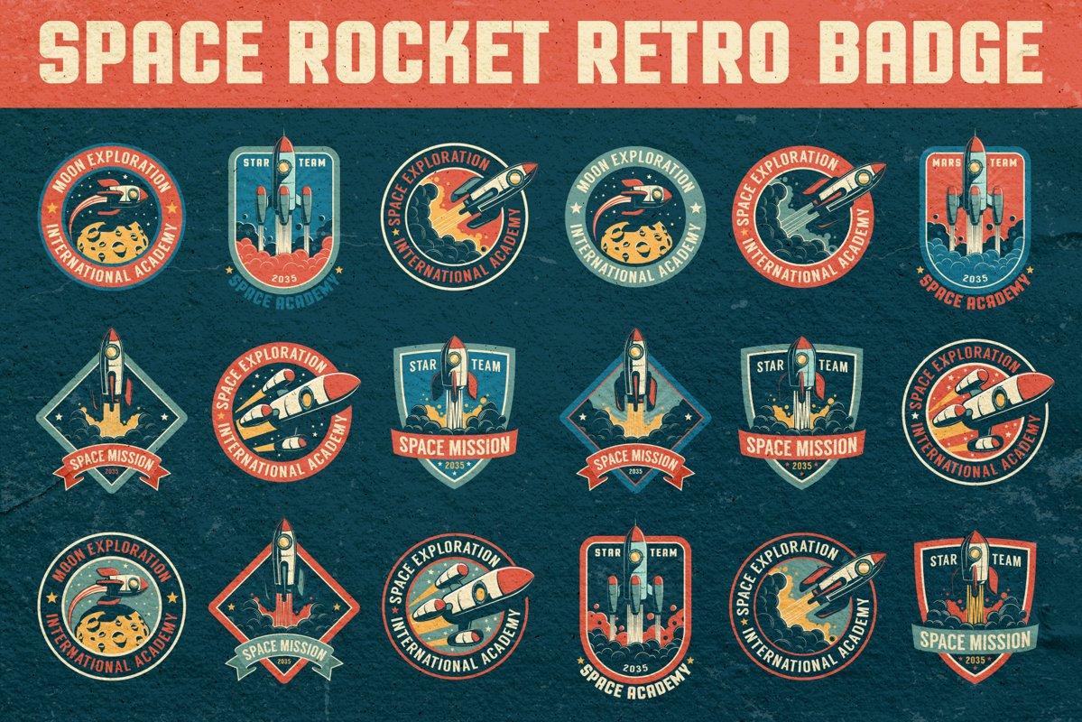 Space Rocket Retro Badge example image 1