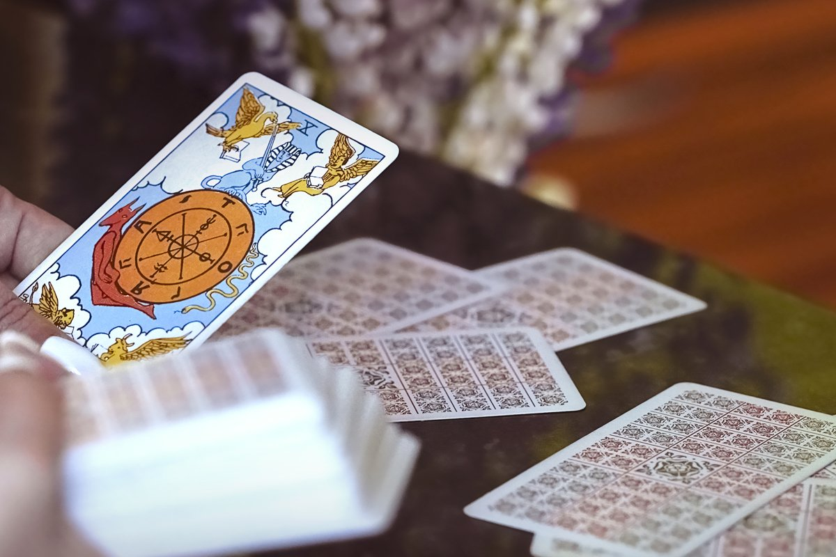 Tarot cards and Lupin flowers. example image 1