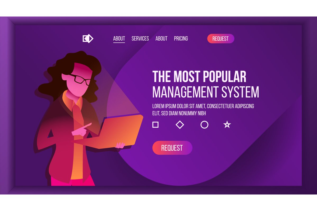 Management System Landing Page Vector. Store. Woma With example image 1