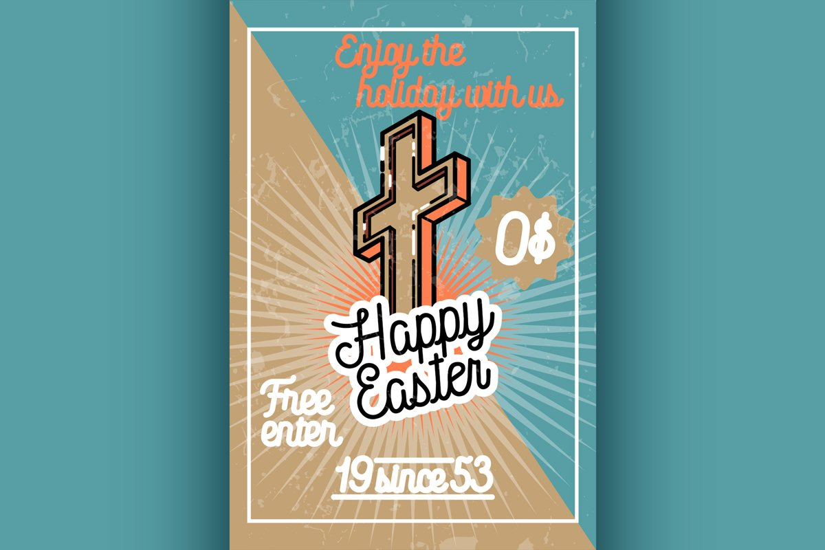 Color vintage easter banner example image 1