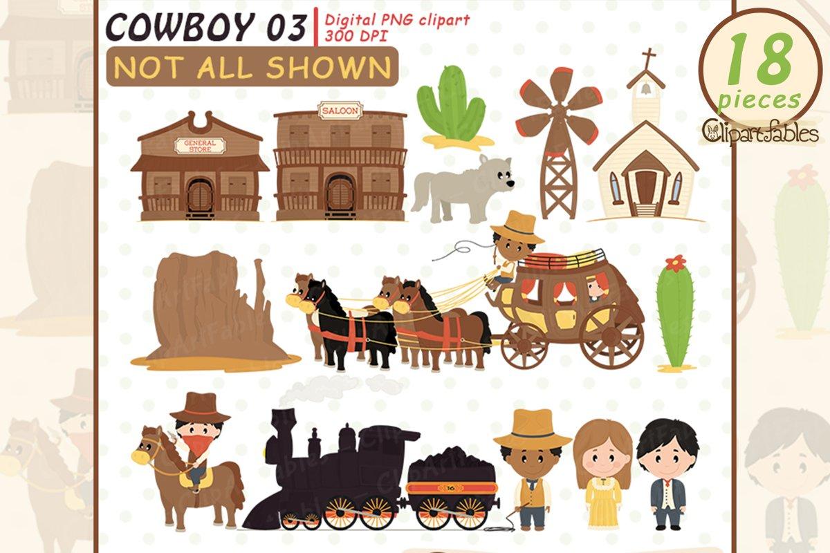 WILD WEST clipart, Cute western city clip art, Locomotive example image 1