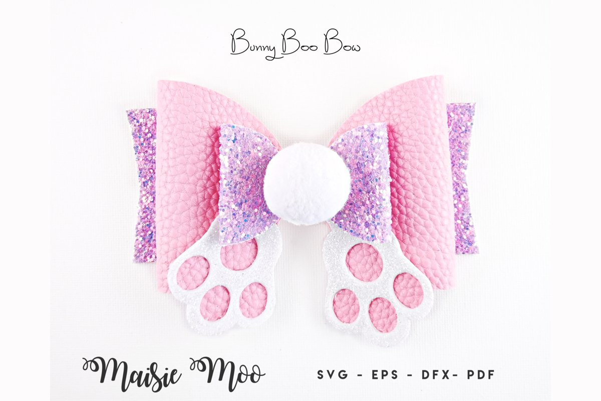 Easter Bow Template SVG, Bunny Butt Bow SVG, Rabbit Bow PDF example image 1