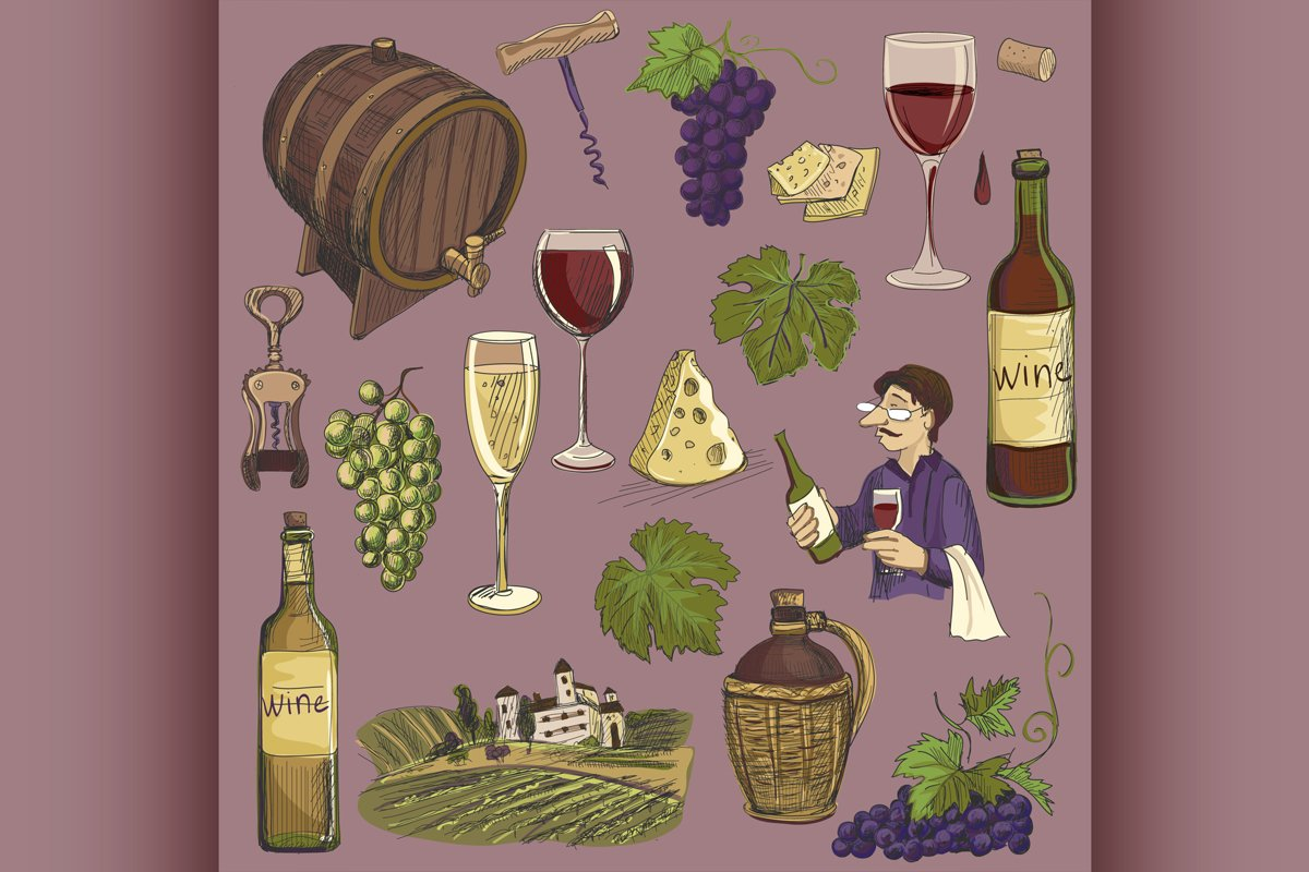 Hand drawn vector set - wine and winemaking example image 1