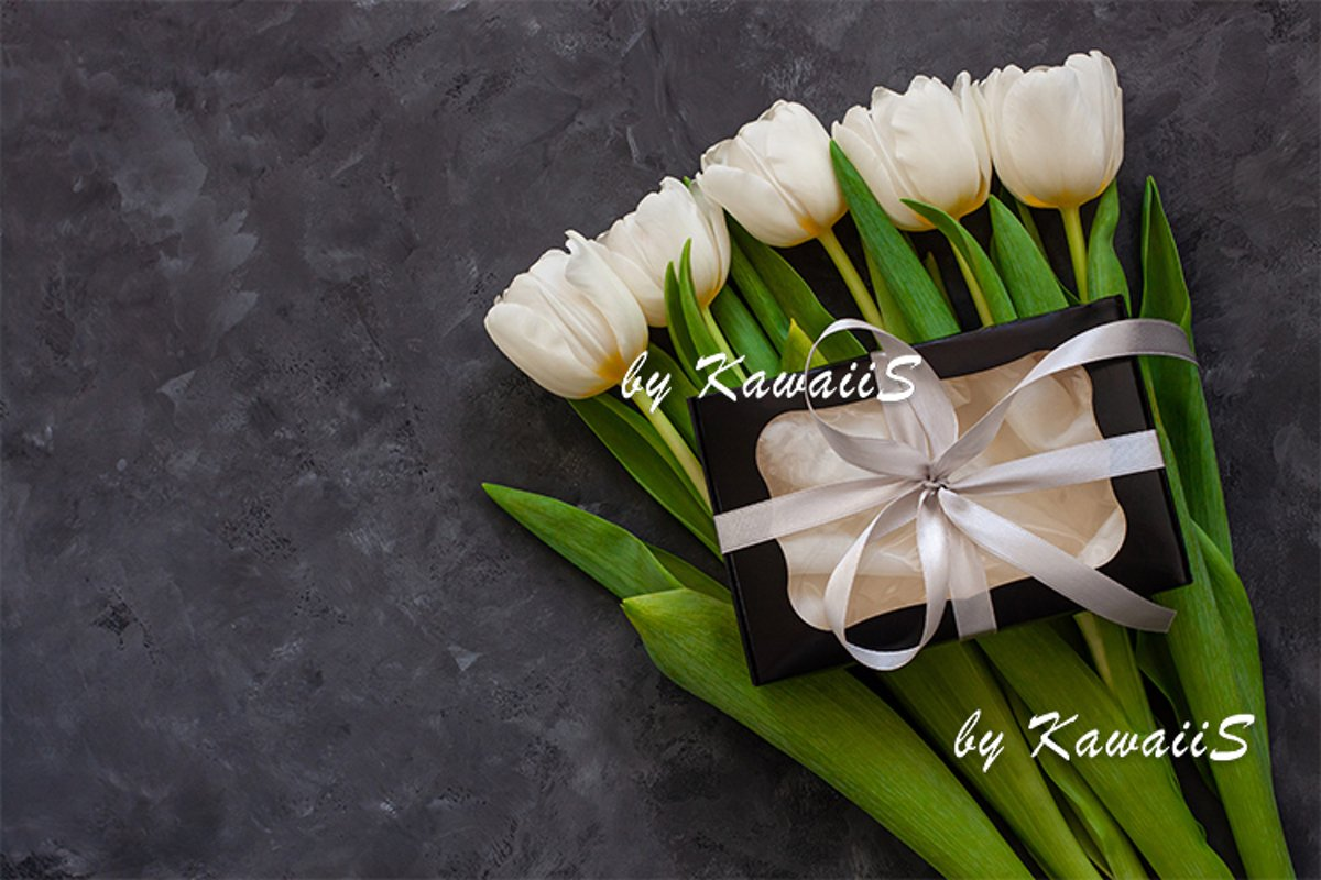 White tulip flowers and black gift box greeting card mockup example image 1