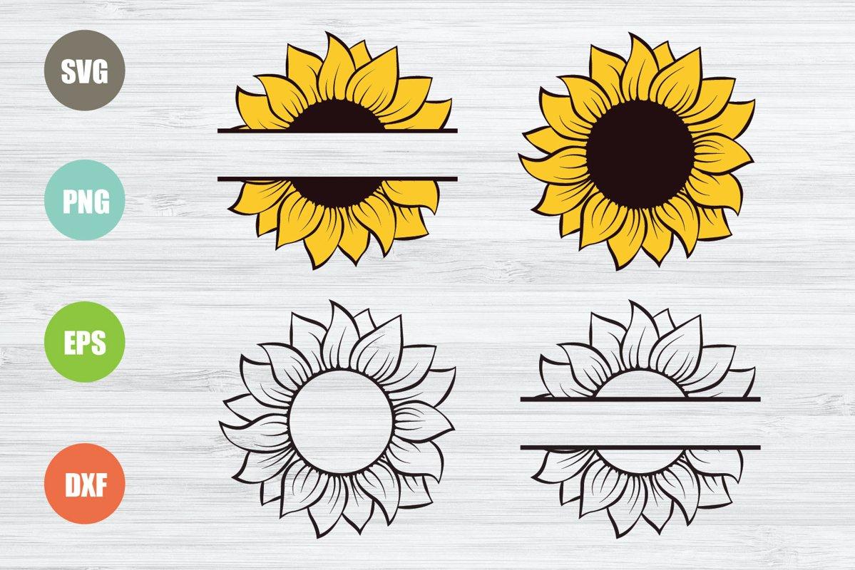 Sunflower SVG, Sunflower Monogram SVG example image 1