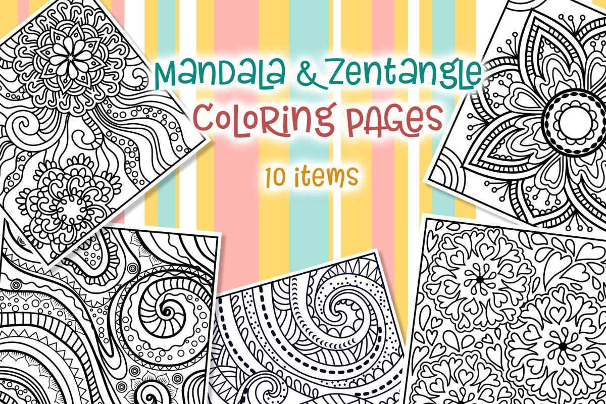 Mandala Zentangle Coloring Pages 10 Items