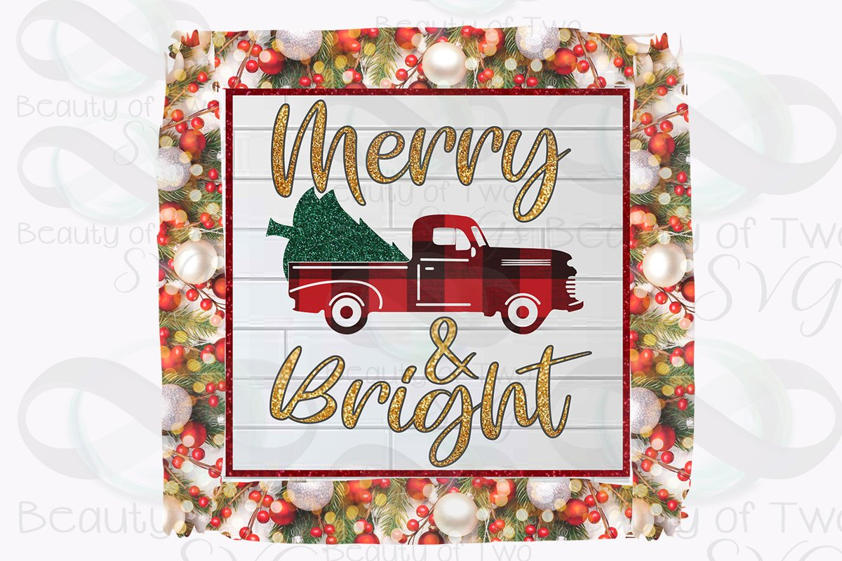 Christmas Vintage Red Truck Sublimation Design png 300 dpi example image 1