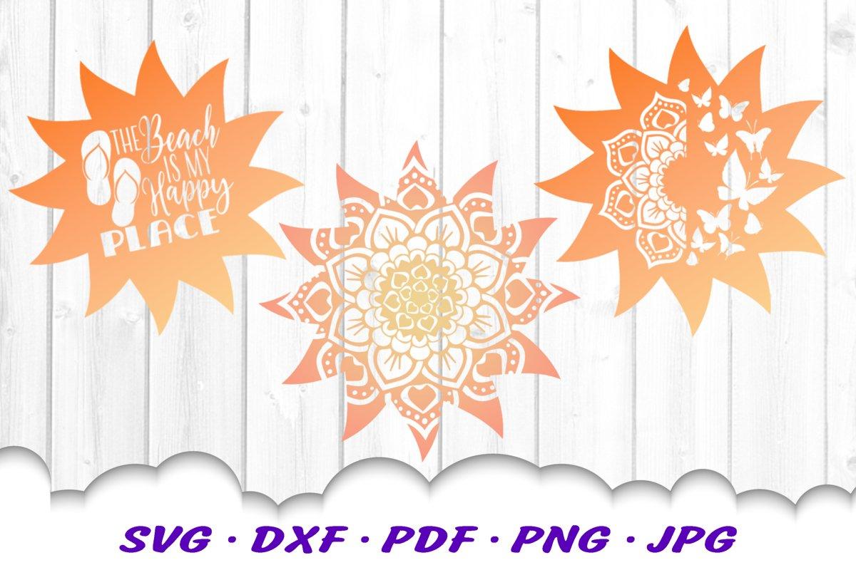 Mandala Sun Floral Celestial Summer SVG DXF Cut Files Bundle example image 1