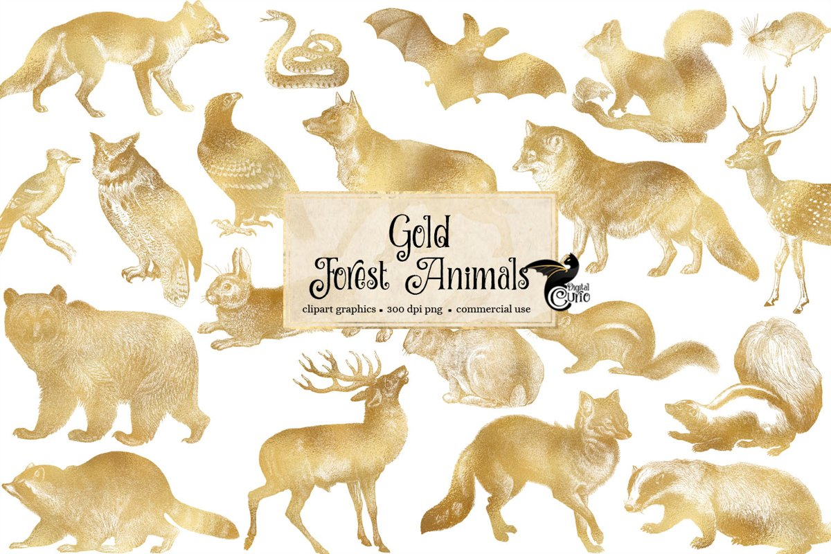 Gold Forest Animals Clip Art example image 1