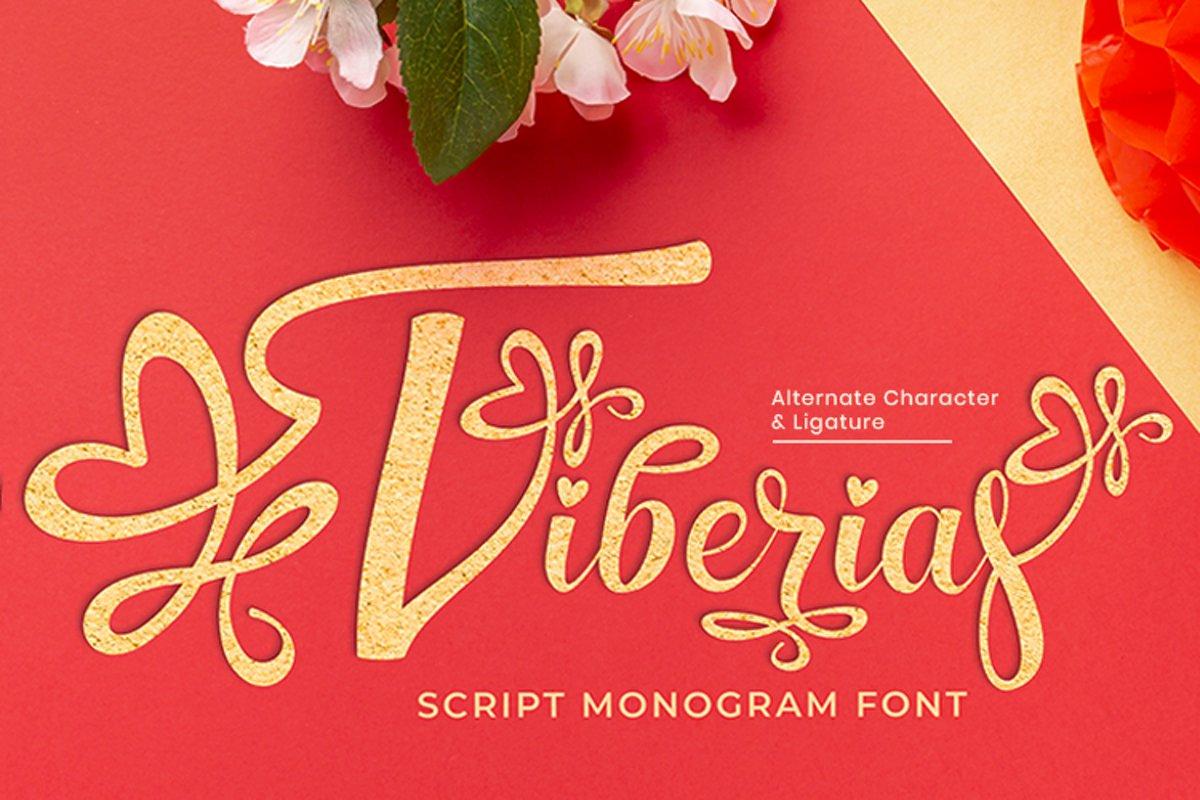 Tiberias Script Monogram Font example image 1