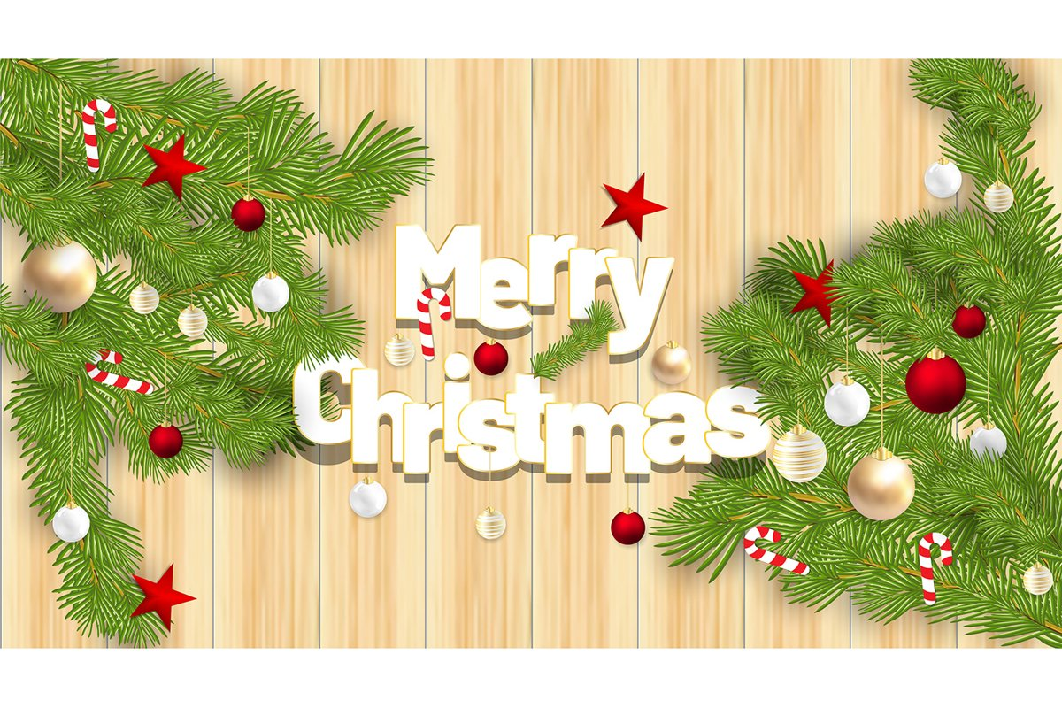 Merry Christmas Vector Ornaments with red balls, candy example image 1