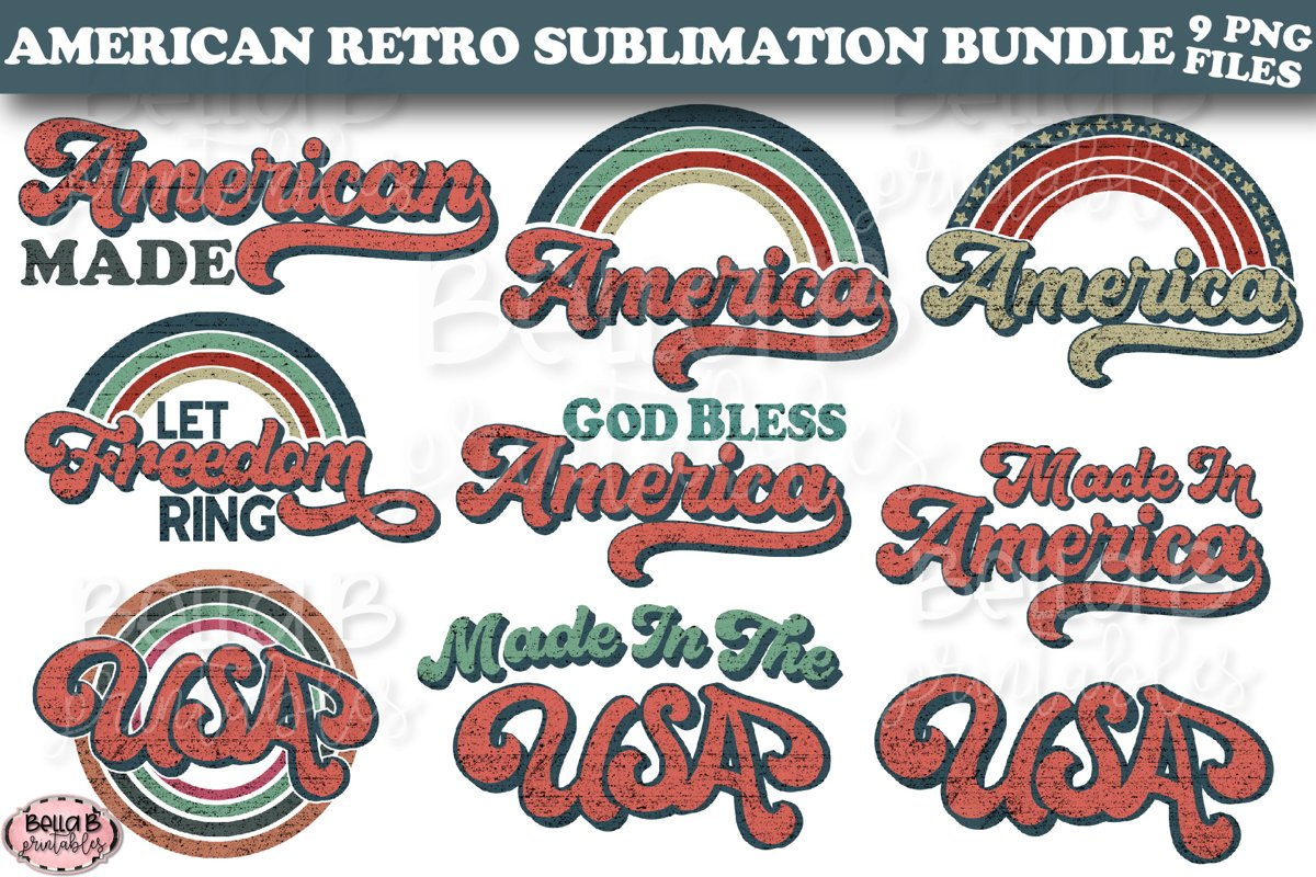 Retro America Sublimation Bundle, USA Sublimation Bundle example image 1