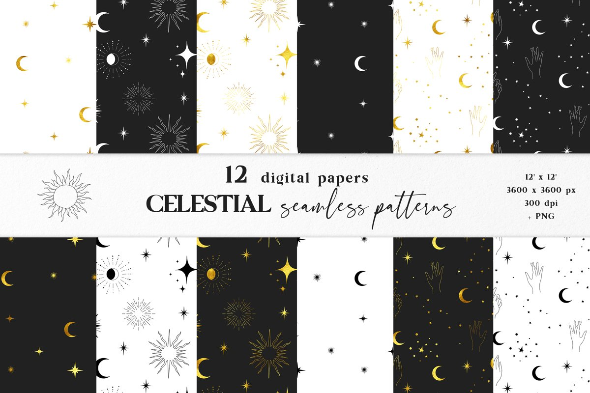 Moon digital paper, Celestial seamless pattern example image 1