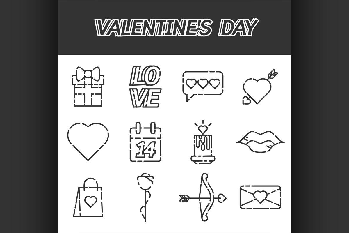 Valentines Day flat icons set example image 1
