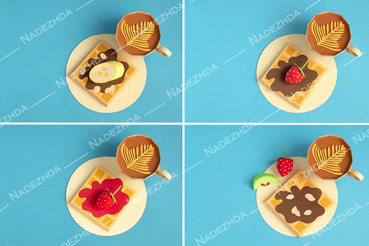Paper belgian waffles and cup of cappuccino example image 1