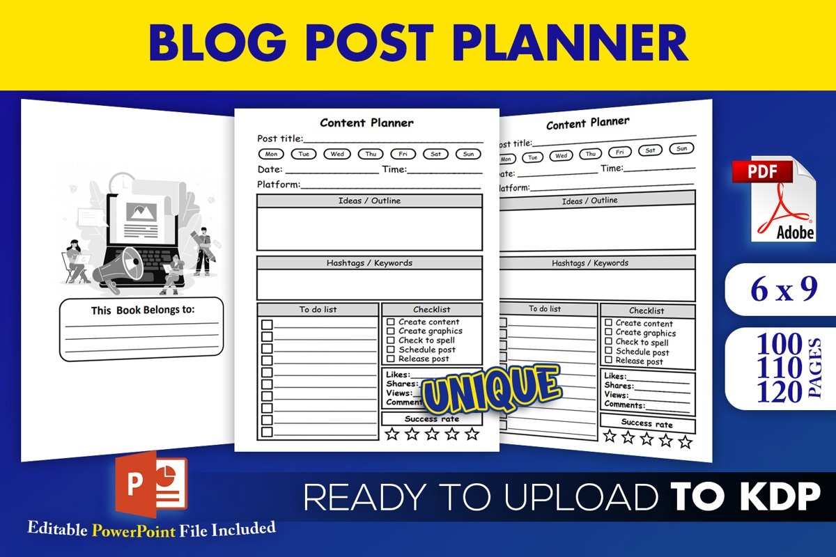 KDP Interior PDF| Blog Post Planner Content Creator example image 1