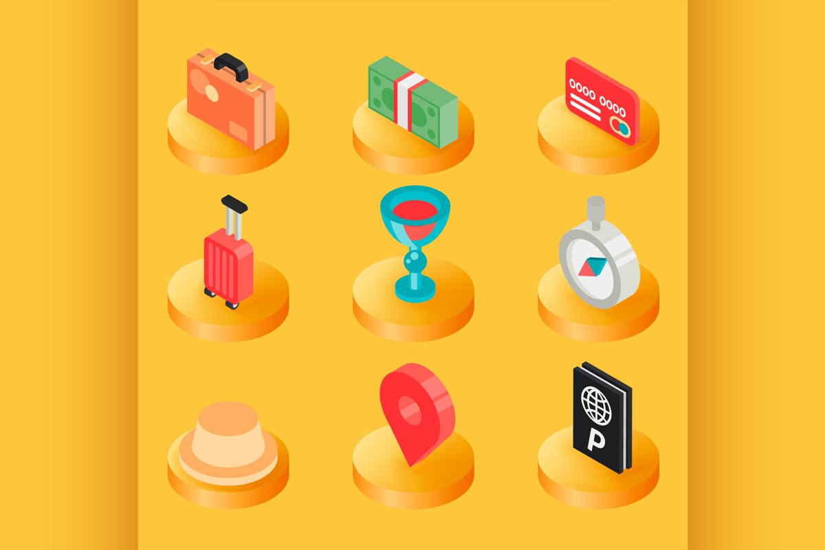 Traveling color isometric icons example image 1