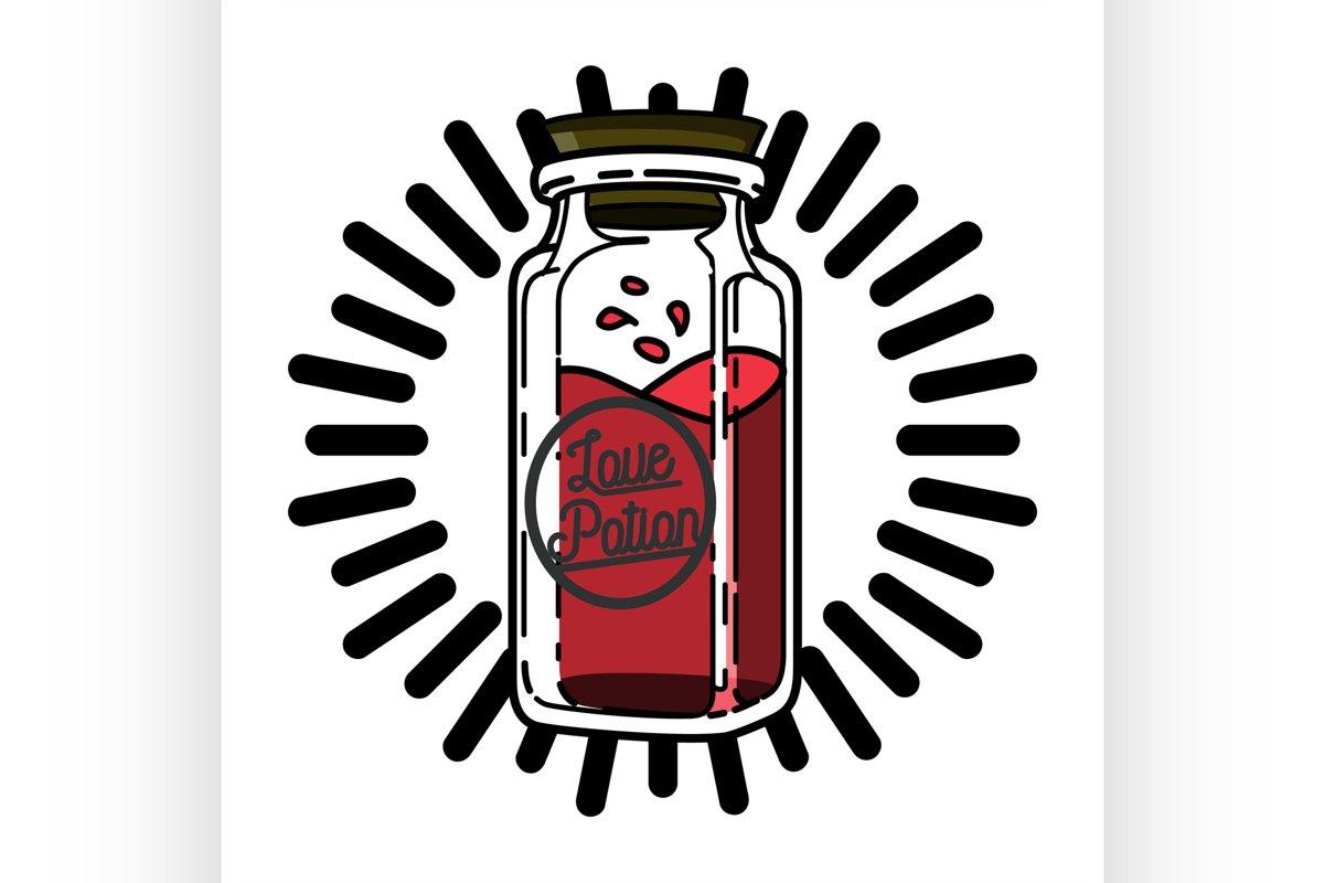Color vintage Valentines day emblem example image 1
