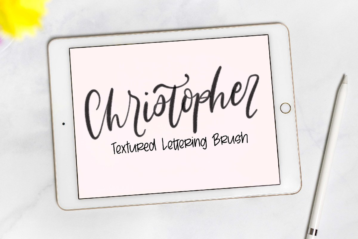 Procreate - Christopher - Textured Lettering Brush example image 1