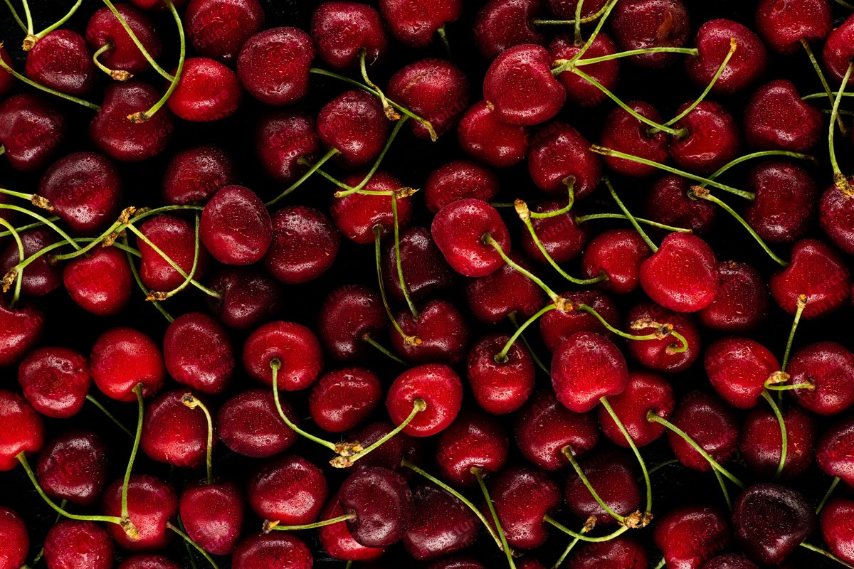 6 photos of juicy cherry texture with water drops example image 1