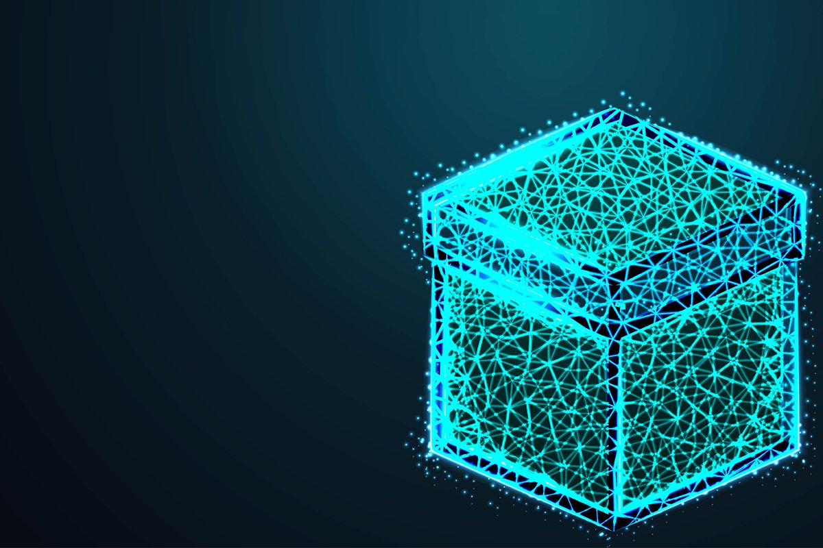 Wireframe mesh polygonal element. Cube with connected lines example image 1