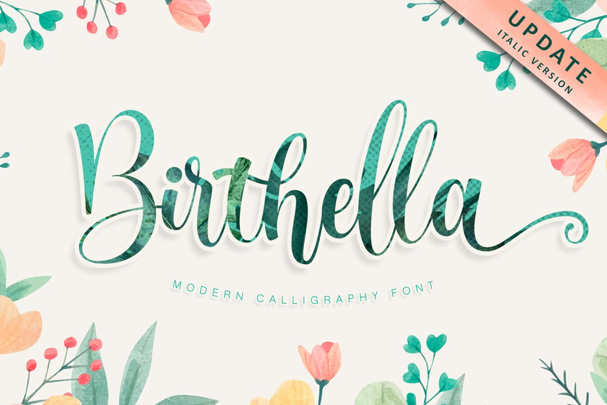 Birthella || Modern Calligraphy example image 1