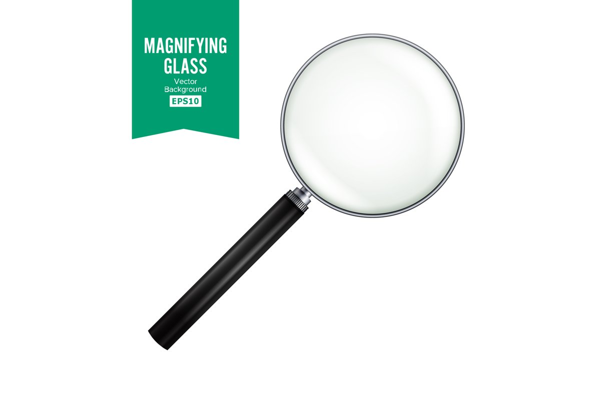 Realistic Magnifying Glass Vector. Isolated On White example image 1
