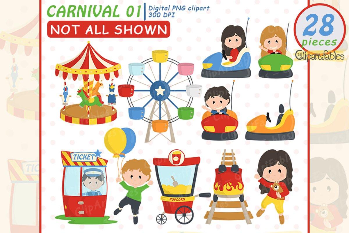 Cute CARNIVAL clipart, Amusement park - Roller-coaster example image 1