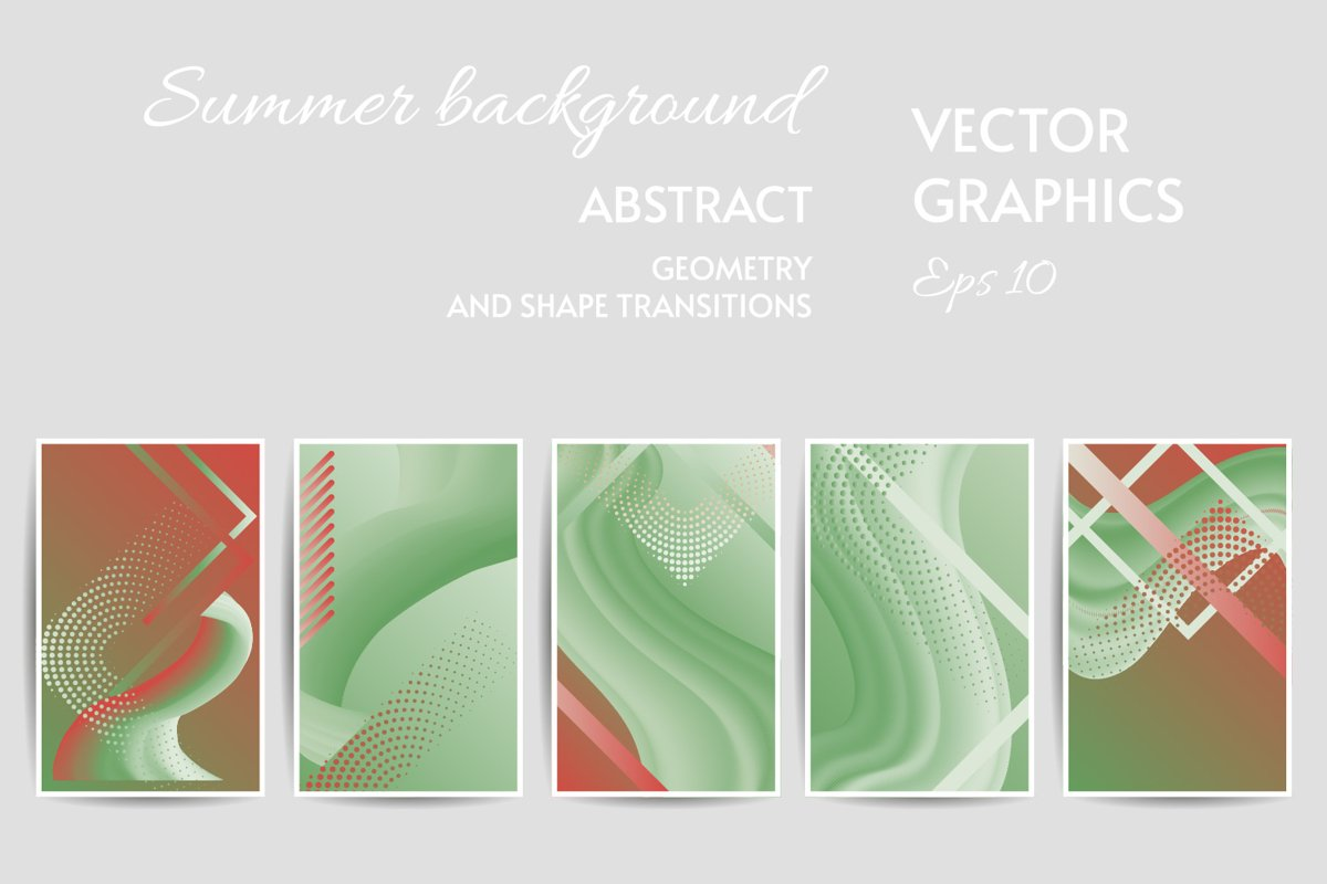 Summer colors mutet pastel card templates SET eps 10 example image 1