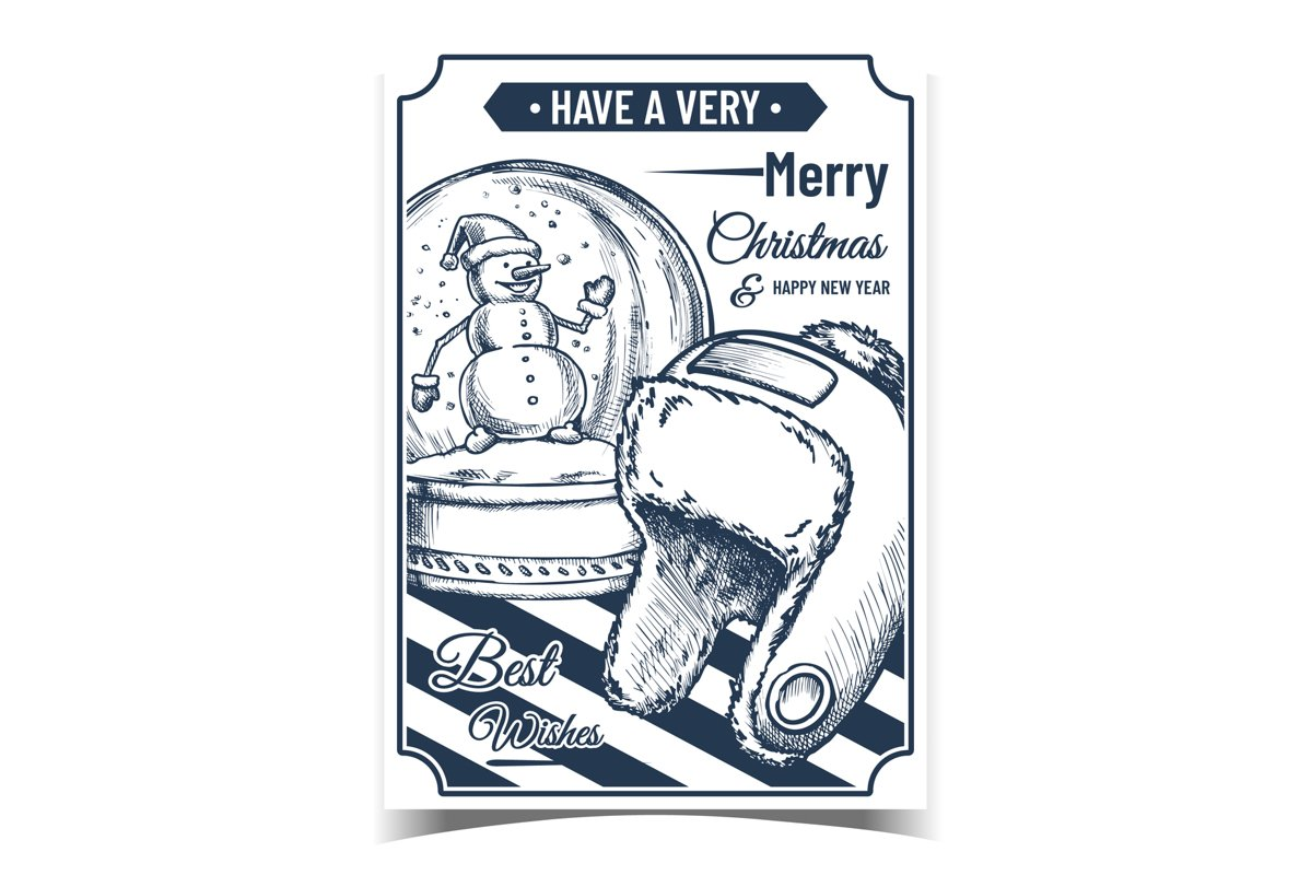 Merry Christmas Gifts Advertising Poster Vector example image 1