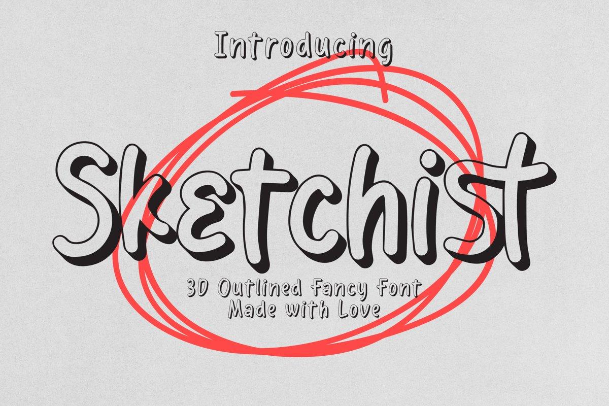 Sketchist - 3D Outlined Fancy Font example image 1