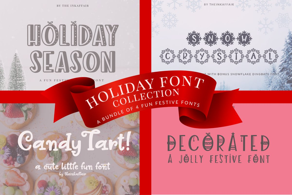 Holiday Font Bundle, Christmas Fonts example image 1